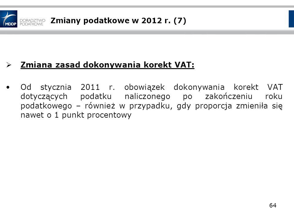 Zmiany podatkowe w 2012 r. (7) Zmiana zasad dokonywania korekt VAT: Od stycznia 2011 r. obowiązek dokonywania korekt VAT dotyczących podatku naliczone