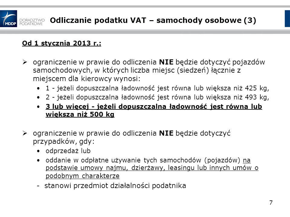 Odliczanie podatku VAT – samochody osobowe (3) Od 1 stycznia 2013 r.: ograniczenie w prawie do odliczenia NIE będzie dotyczyć pojazdów samochodowych,