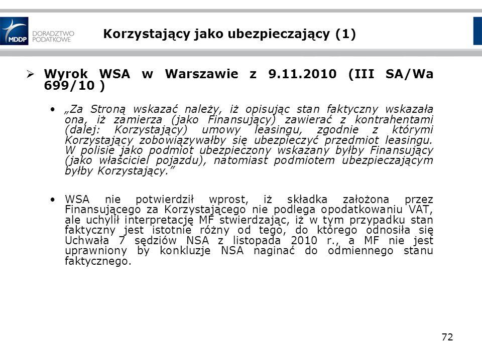 Korzystający jako ubezpieczający (1) Wyrok WSA w Warszawie z 9.11.2010 (III SA/Wa 699/10 ) Za Stroną wskazać należy, iż opisując stan faktyczny wskaza