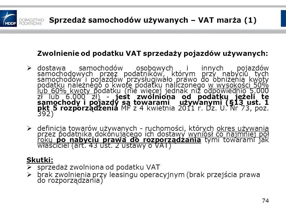 Sprzedaż samochodów używanych – VAT marża (1) Zwolnienie od podatku VAT sprzedaży pojazdów używanych: dostawa samochodów osobowych i innych pojazdów s