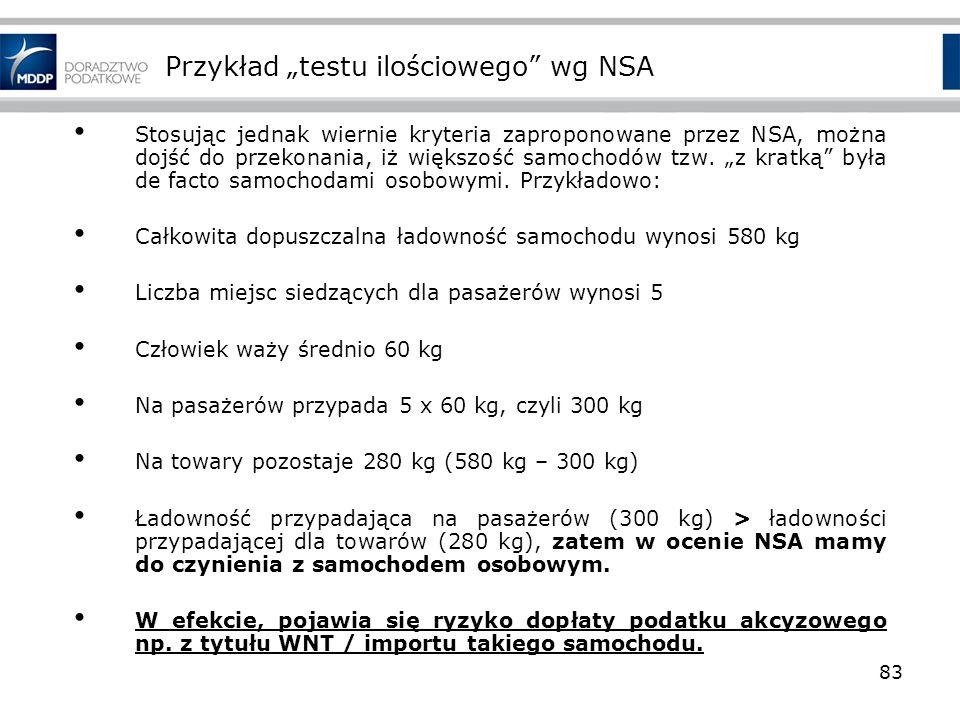 Przykład testu ilościowego wg NSA Stosując jednak wiernie kryteria zaproponowane przez NSA, można dojść do przekonania, iż większość samochodów tzw. z