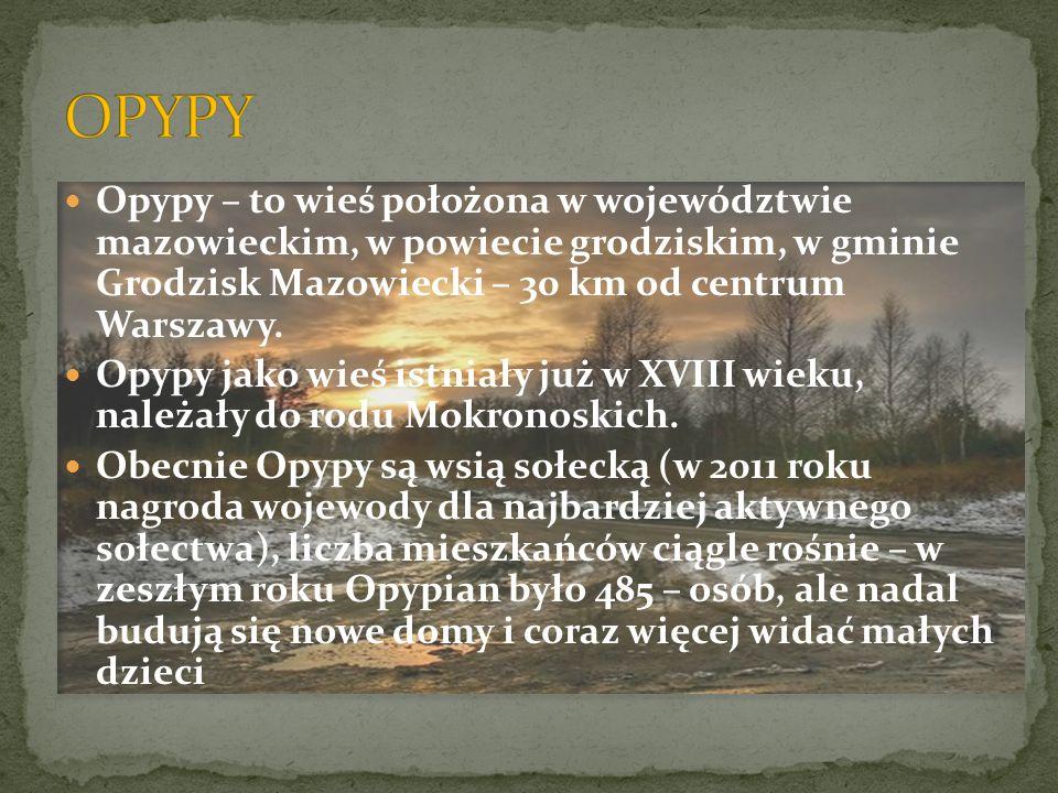 Opypy – to wieś położona w województwie mazowieckim, w powiecie grodziskim, w gminie Grodzisk Mazowiecki – 30 km od centrum Warszawy. Opypy jako wieś