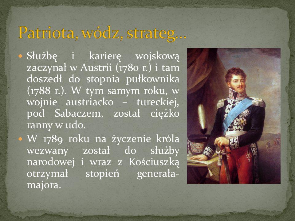 Służbę i karierę wojskową zaczynał w Austrii (1780 r.) i tam doszedł do stopnia pułkownika (1788 r.). W tym samym roku, w wojnie austriacko – tureckie