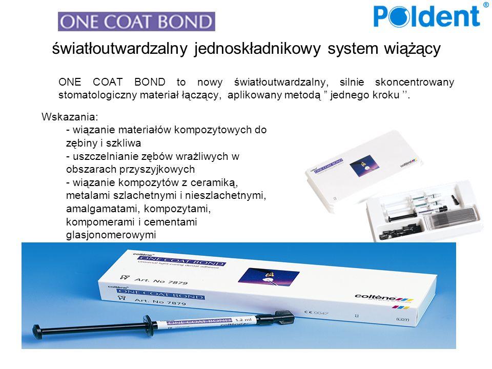 światłoutwardzalny jednoskładnikowy system wiążący ONE COAT BOND to nowy światłoutwardzalny, silnie skoncentrowany stomatologiczny materiał łączący, aplikowany metodą jednego kroku..