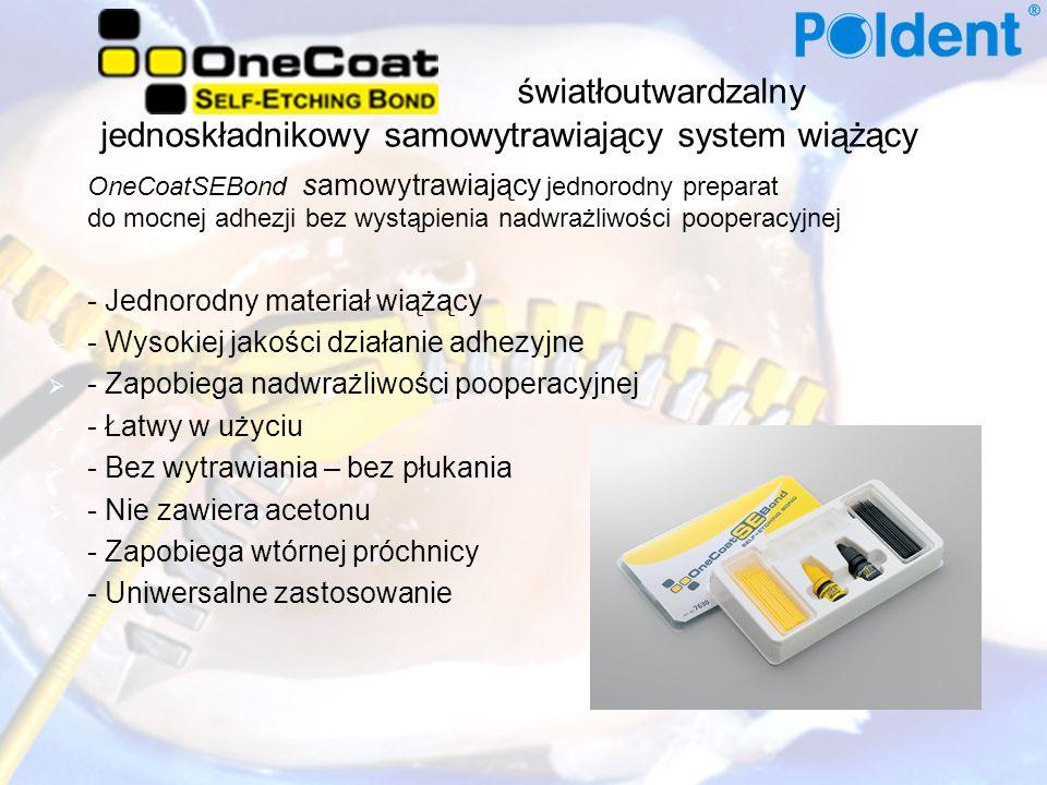światłoutwardzalny jednoskładnikowy samowytrawiający system wiążący OneCoatSEBond samowytrawiający jednorodny preparat do mocnej adhezji bez wystąpienia nadwrażliwości pooperacyjnej - Jednorodny materiał wiążący - Wysokiej jakości działanie adhezyjne - Zapobiega nadwrażliwości pooperacyjnej - Łatwy w użyciu - Bez wytrawiania – bez płukania - Nie zawiera acetonu - Zapobiega wtórnej próchnicy - Uniwersalne zastosowanie