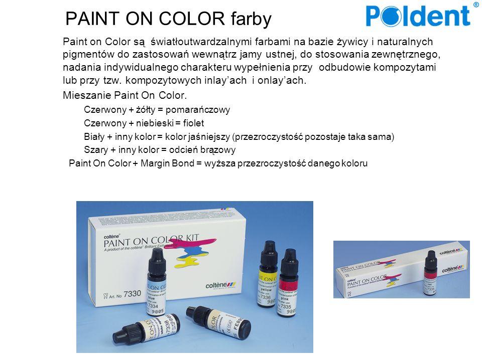 PAINT ON COLOR farby Paint on Color są światłoutwardzalnymi farbami na bazie żywicy i naturalnych pigmentów do zastosowań wewnątrz jamy ustnej, do stosowania zewnętrznego, nadania indywidualnego charakteru wypełnienia przy odbudowie kompozytami lub przy tzw.