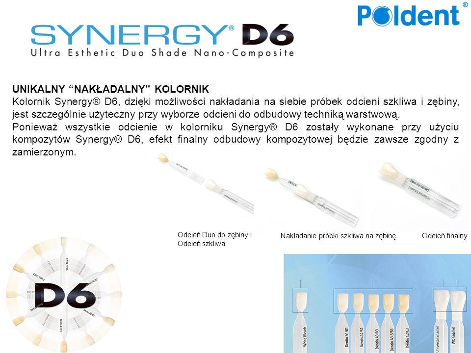 UNIKALNY NAKŁADALNY KOLORNIK Kolornik Synergy® D6, dzięki możliwości nakładania na siebie próbek odcieni szkliwa i zębiny, jest szczególnie użyteczny przy wyborze odcieni do odbudowy techniką warstwową.
