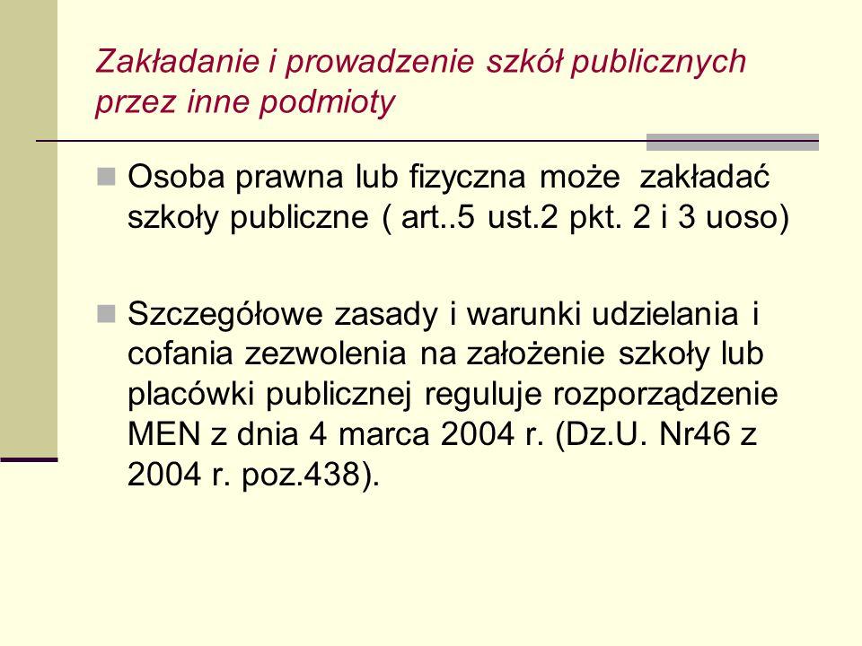 Zakładanie i prowadzenie szkół publicznych przez inne podmioty Osoba prawna lub fizyczna może zakładać szkoły publiczne ( art..5 ust.2 pkt. 2 i 3 uoso
