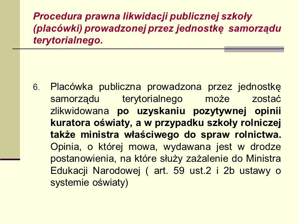 Procedura prawna likwidacji publicznej szkoły (placówki) prowadzonej przez jednostkę samorządu terytorialnego. 6. Placówka publiczna prowadzona przez