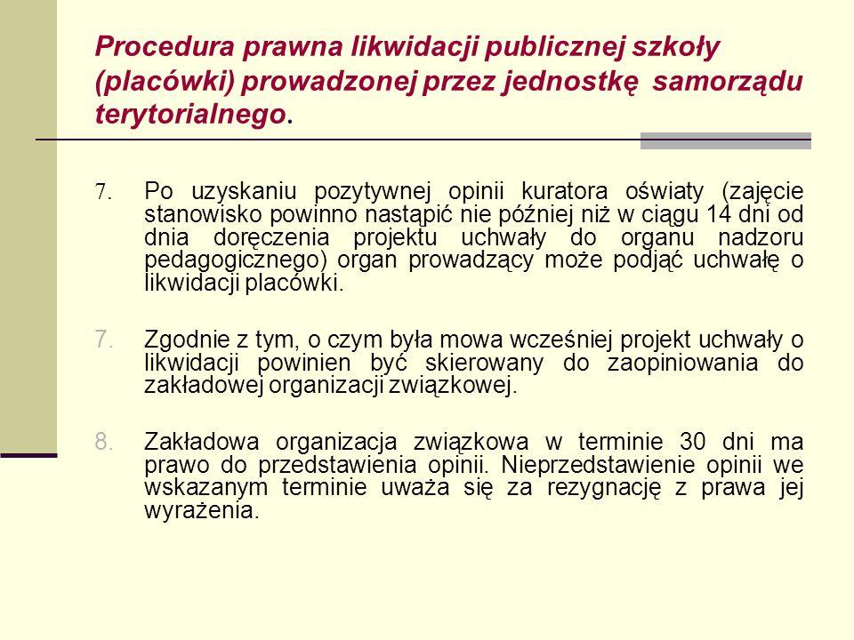 Procedura prawna likwidacji publicznej szkoły (placówki) prowadzonej przez jednostkę samorządu terytorialnego. 7. Po uzyskaniu pozytywnej opinii kurat