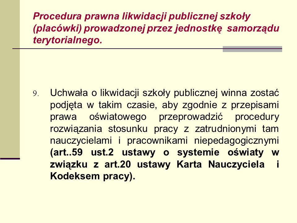 Procedura prawna likwidacji publicznej szkoły (placówki) prowadzonej przez jednostkę samorządu terytorialnego. 9. Uchwała o likwidacji szkoły publiczn