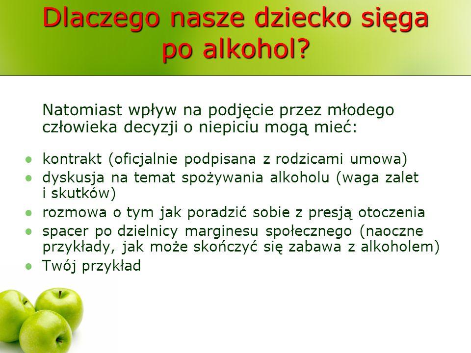 Dlaczego nasze dziecko sięga po alkohol? Natomiast wpływ na podjęcie przez młodego człowieka decyzji o niepiciu mogą mieć: kontrakt (oficjalnie podpis