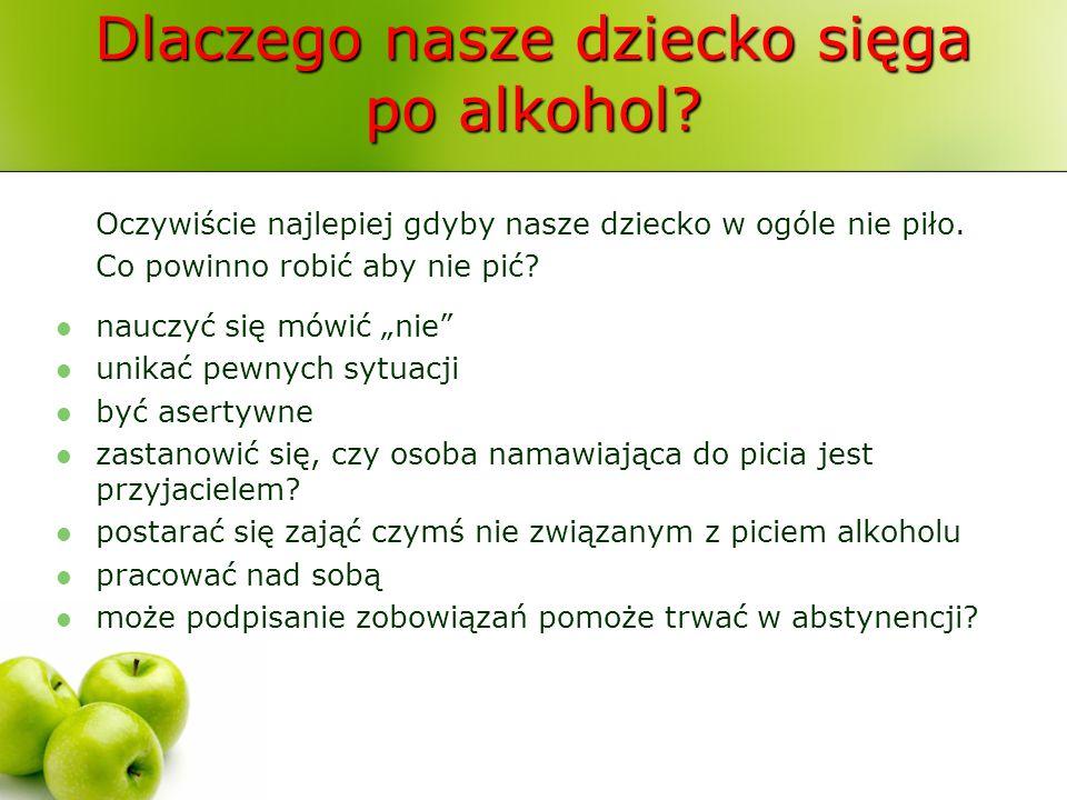 Dlaczego nasze dziecko sięga po alkohol? Oczywiście najlepiej gdyby nasze dziecko w ogóle nie piło. Co powinno robić aby nie pić? nauczyć się mówić ni