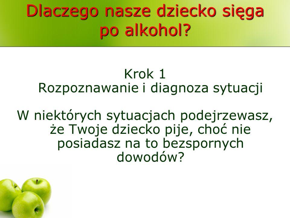 Dlaczego nasze dziecko sięga po alkohol? Krok 1 Rozpoznawanie i diagnoza sytuacji W niektórych sytuacjach podejrzewasz, że Twoje dziecko pije, choć ni