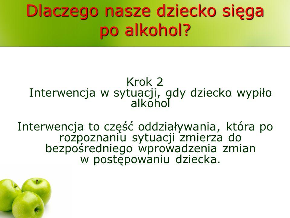 Dlaczego nasze dziecko sięga po alkohol? Krok 2 Interwencja w sytuacji, gdy dziecko wypiło alkohol Interwencja to część oddziaływania, która po rozpoz