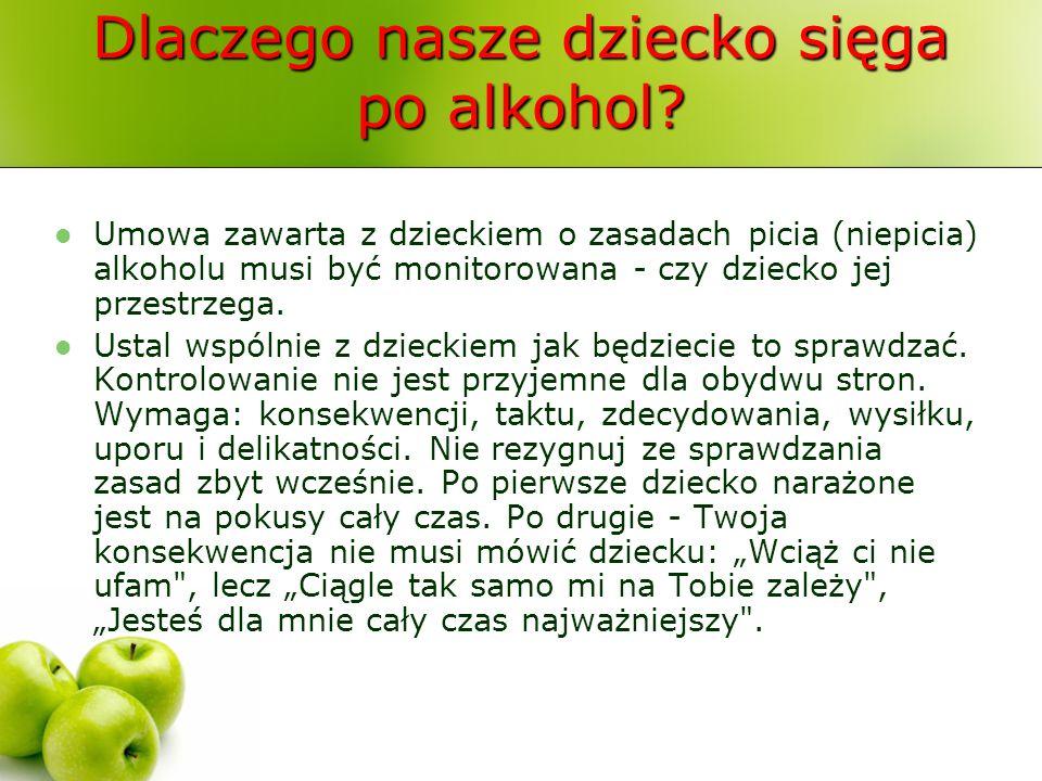 Dlaczego nasze dziecko sięga po alkohol? Umowa zawarta z dzieckiem o zasadach picia (niepicia) alkoholu musi być monitorowana - czy dziecko jej przest