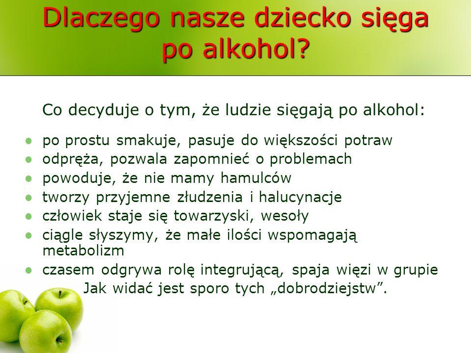 Dlaczego nasze dziecko sięga po alkohol? Co decyduje o tym, że ludzie sięgają po alkohol: po prostu smakuje, pasuje do większości potraw odpręża, pozw