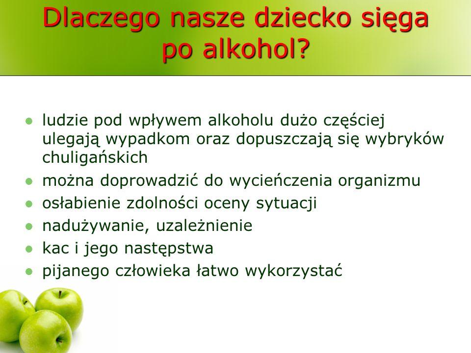 Dlaczego nasze dziecko sięga po alkohol? ludzie pod wpływem alkoholu dużo częściej ulegają wypadkom oraz dopuszczają się wybryków chuligańskich można