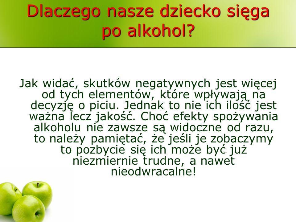 Dlaczego nasze dziecko sięga po alkohol? Jak widać, skutków negatywnych jest więcej od tych elementów, które wpływają na decyzję o piciu. Jednak to ni