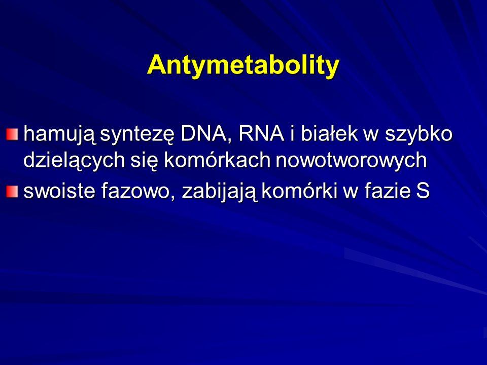 Antymetabolity Antagoniści kwasu foliowego –metotreksat, edatreksat, trimetreksat, raltitreksed, pemetreksed Antagoniści pirymidyn –fluorouracyl, kapecytabina, uracyl + tegafur, eniluracyl Antagoniści puryn –merkaptopuryna Analogi nukleozydów – cytarabina, azacytydyna, gemcytabina, fludarabina, kladrybina, pentostatyna