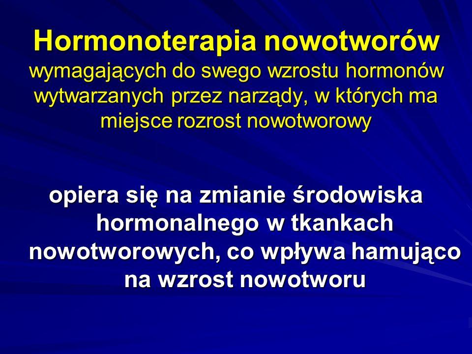 Hormony Glikokortykosteroidy Hormony płciowe –estrogeny, androgeny antyestrogeny, antyandrogeny, progestyny, analogi lutropiny Inhibitory aromatazy –aminoglutetimid –II generacji formestan, anastrozol, letrozol, worozol –III generacji eksemestan