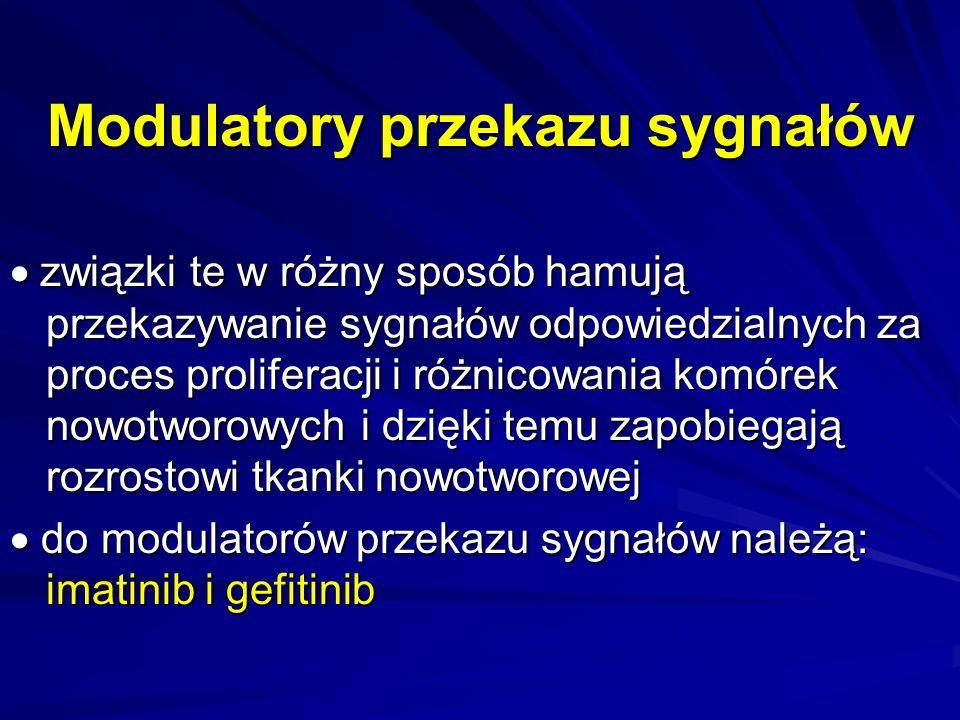 Przeciwciała monoklonalne –rituksumab –trastuzumab –gemtuzumab –cetuksimab –bewacizumab ich działanie jest skierowane przeciwko antygenom obecnym w komórkach nowotworowych