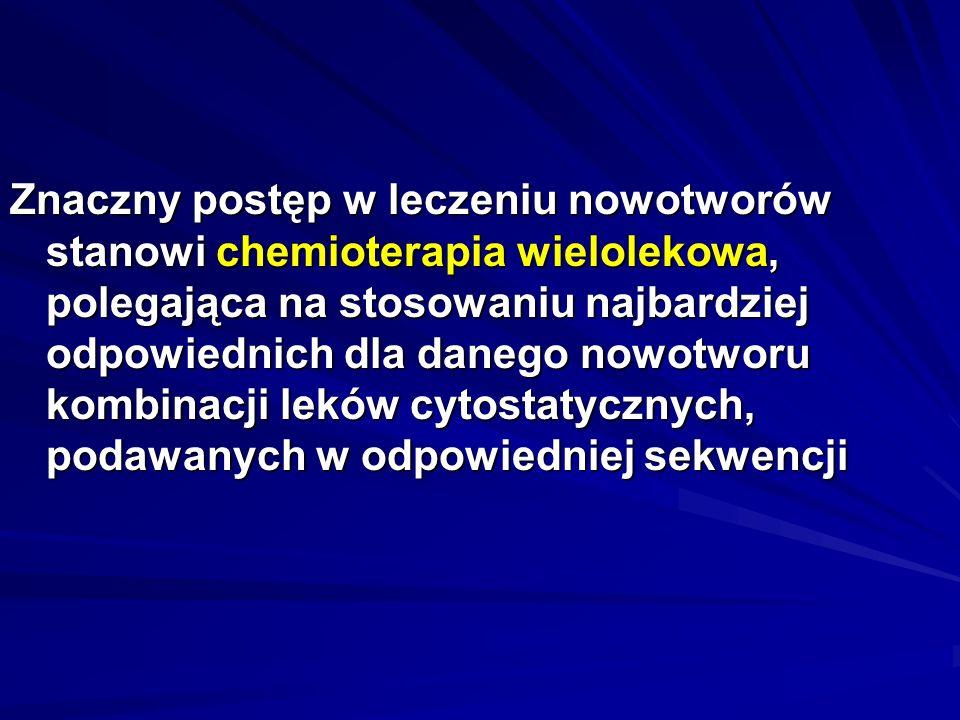 Skojarzona chemioterapia przeciwnowotworowa Rodzaj nowotworu LekiZestaw Ostra białaczka limfatyczna Cyklofosfamid, daunorubicyna, winkrystyna, asparaginaza, prednizon CDVAP Nieziarniczy chłoniak złośliwy Cyklofosfamid, doksorubicyna, winkrystyna, prednizon CHOP Rak piersi Cyklofosfamid, metotreksat, fluorouracyl CMF Nowotwory mózgu Prokarbazyna, lomustyna, winkrystyna PCV