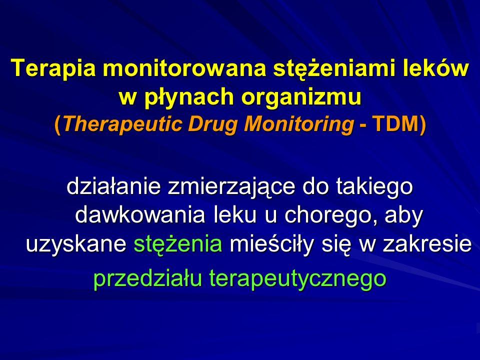 Istota terapii monitorowanej stężeniem leku zależność między działaniem farmakologicznym a stężeniem substancji leczniczej we krwi lub w innym dostępnym do analizy materiale biologicznym