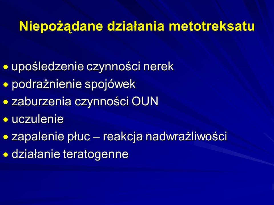 Sposoby ochrony przed toksycznym działaniem MTX stosowanie karboksypeptydazy, asparaginazy stosowanie karboksypeptydazy, asparaginazy stosowanie folinianu wapniowego (Leukoworyny) – nie później niż 24 h po podaniu cytostatyku stosowanie folinianu wapniowego (Leukoworyny) – nie później niż 24 h po podaniu cytostatyku nawadnianie chorego nawadnianie chorego alkalizowanie moczu do pH>6,5 alkalizowanie moczu do pH>6,5