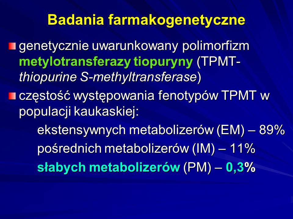 Zwiększenie bezpieczeństwa stosowania leków o genetycznie uwarunkowanym metabolizmie oznaczanie genotypu TPMT – występowanie zmutowanych alleli TPMT*3A, TPMT*3B, TPMT*3C wymaga zmniejszenia dawki wymienionych leków dlaczego.