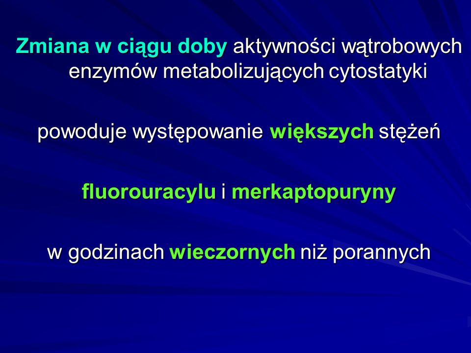 U dzieci chorych na ostrą białaczkę limfoblastyczną okresy remisji są dłuższe, gdy: merkaptopurynę stosuje się wieczorem, a nie rano merkaptopurynę stosuje się wieczorem, a nie rano związane jest to z biorytmami wrażliwości komórek białaczkowych na cytostatyk oraz z biorytmami dostępności biologicznej i metabolizmu leku związane jest to z biorytmami wrażliwości komórek białaczkowych na cytostatyk oraz z biorytmami dostępności biologicznej i metabolizmu leku ponadto mleko, którego większą ilość dzieci spożywają rano niż wieczorem, zawiera oksydazę ksantynową, unieczynniającą w ciągu 30 min w temp.