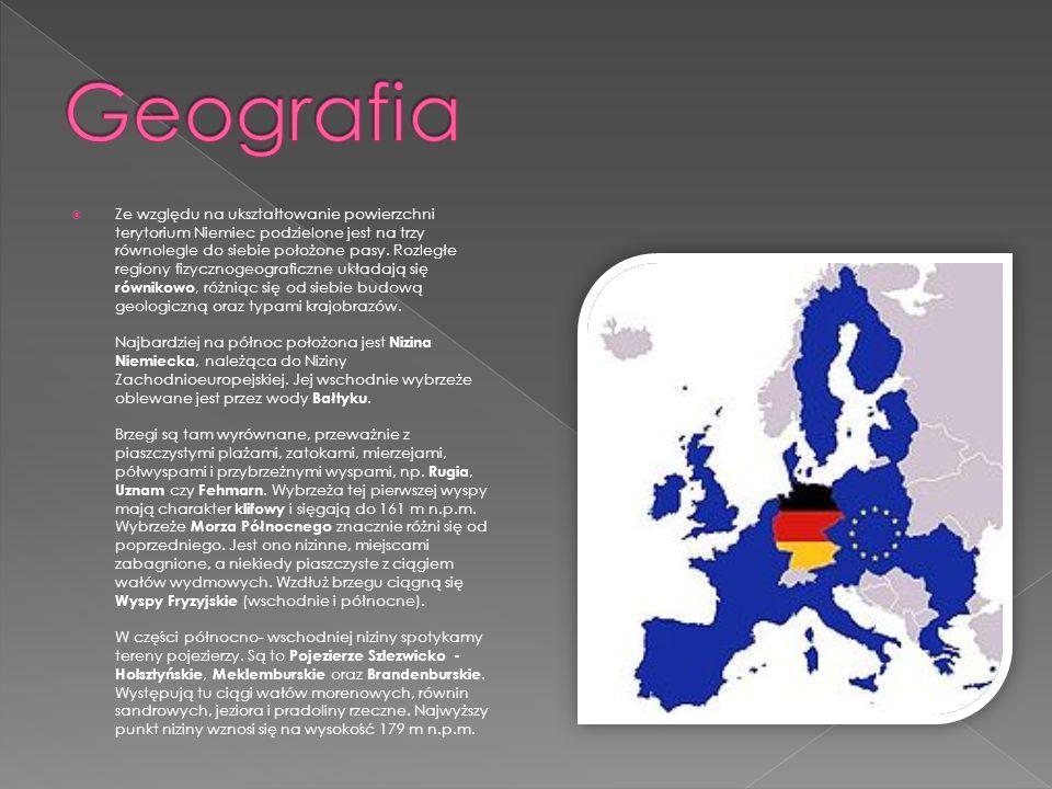 Ze względu na ukształtowanie powierzchni terytorium Niemiec podzielone jest na trzy równolegle do siebie położone pasy. Rozległe regiony fizycznogeogr