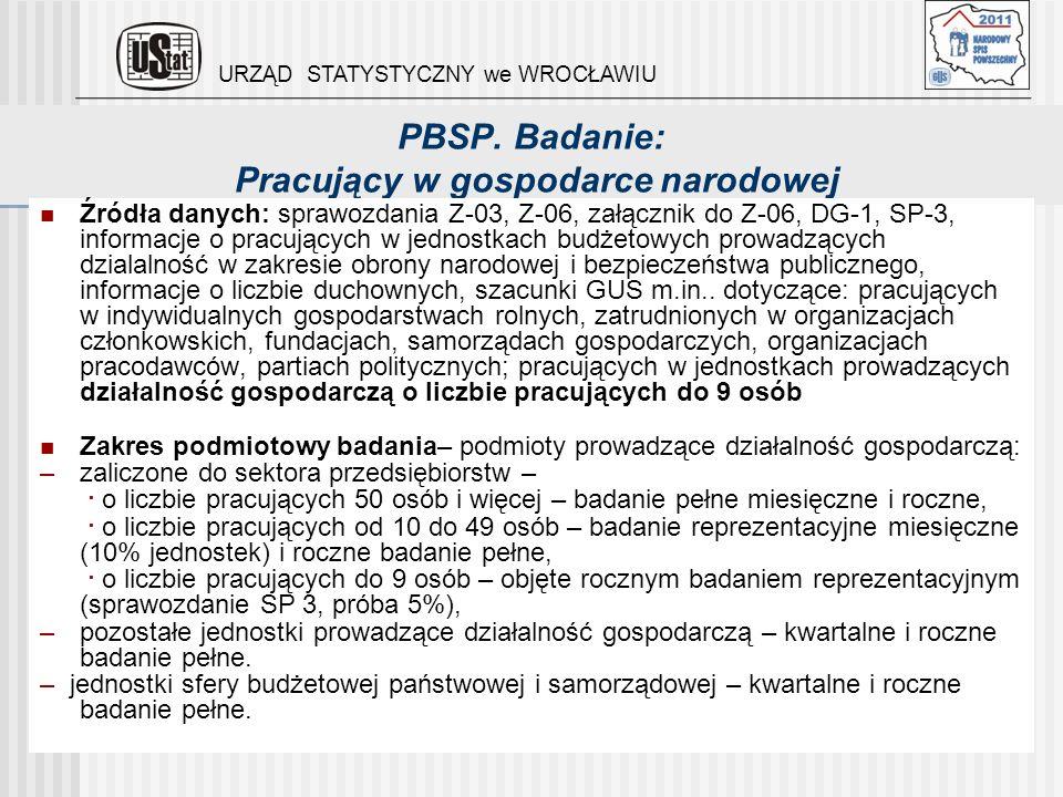 PBSP. Badanie: Pracujący w gospodarce narodowej Źródła danych: sprawozdania Z-03, Z-06, załącznik do Z-06, DG-1, SP-3, informacje o pracujących w jedn