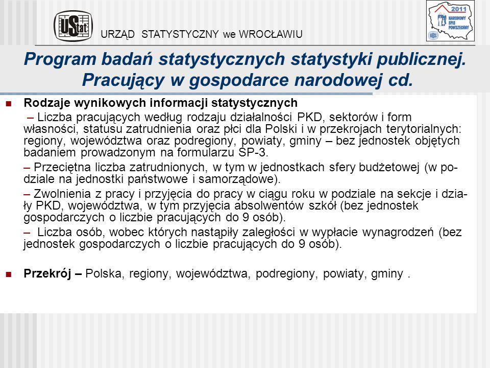 Program badań statystycznych statystyki publicznej. Pracujący w gospodarce narodowej cd. Rodzaje wynikowych informacji statystycznych – Liczba pracują