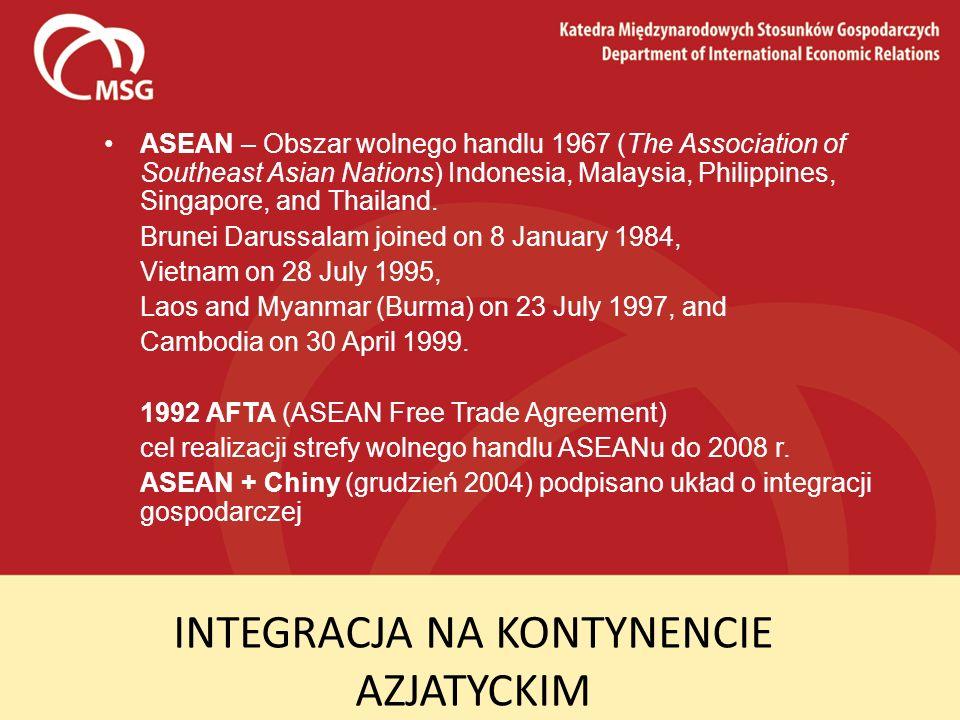 INTEGRACJA NA KONTYNENCIE AZJATYCKIM ASEAN – Obszar wolnego handlu 1967 (The Association of Southeast Asian Nations) Indonesia, Malaysia, Philippines,