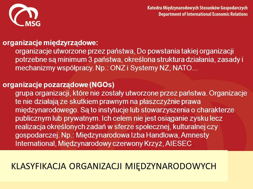 KLASYFIKACJA ORGANIZACJI MIĘDZYNARODOWYCH organizacje międzyrządowe: organizacje utworzone przez państwa, Do powstania takiej organizacji potrzebne są