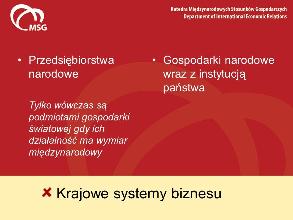 Krajowe systemy biznesu Przedsiębiorstwa narodowe Tylko wówczas są podmiotami gospodarki światowej gdy ich działalność ma wymiar międzynarodowy Gospod