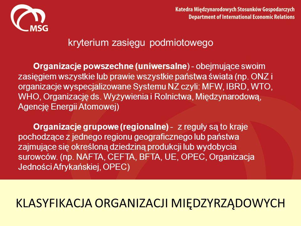 KLASYFIKACJA ORGANIZACJI MIĘDZYRZĄDOWYCH kryterium zasięgu podmiotowego Organizacje powszechne (uniwersalne) - obejmujące swoim zasięgiem wszystkie lu