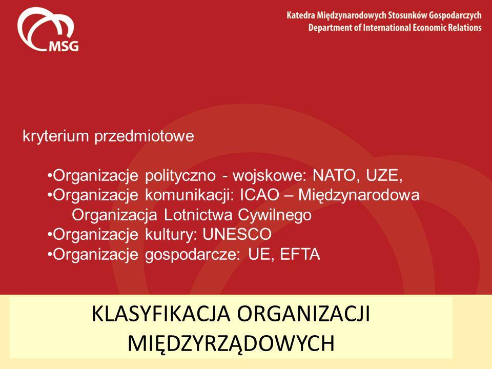 KLASYFIKACJA ORGANIZACJI MIĘDZYRZĄDOWYCH kryterium przedmiotowe Organizacje polityczno - wojskowe: NATO, UZE, Organizacje komunikacji: ICAO – Międzyna