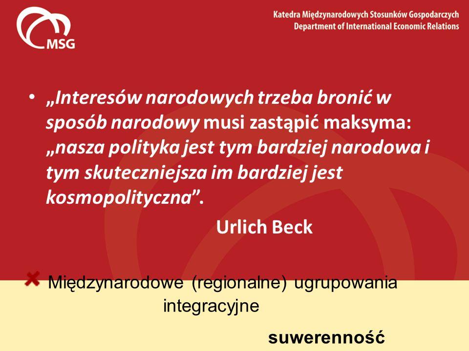 Międzynarodowe (regionalne) ugrupowania integracyjne suwerenność Interesów narodowych trzeba bronić w sposób narodowy musi zastąpić maksyma:nasza poli