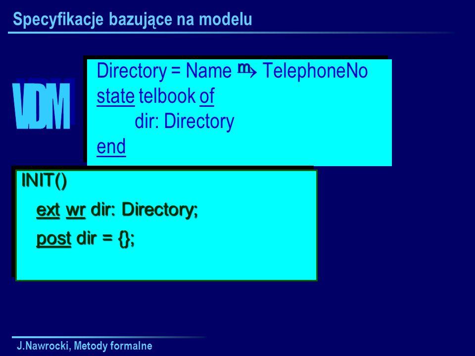 J.Nawrocki, Metody formalne Specyfikacje bazujące na modelu Directory = Name TelephoneNo state telbook of dir: Directory end Directory = Name TelephoneNo state telbook of dir: Directory end INIT() ext wr dir: Directory; ext wr dir: Directory; post dir = {}; post dir = {};INIT() ext wr dir: Directory; ext wr dir: Directory; post dir = {}; post dir = {}; m