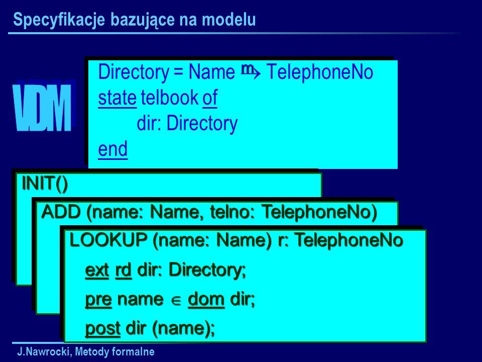 J.Nawrocki, Metody formalne Specyfikacje bazujące na modelu Directory = Name TelephoneNo state telbook of dir: Directory end Directory = Name TelephoneNo state telbook of dir: Directory end INIT() ext wr dir: Directory; ext wr dir: Directory; post dir = {}; post dir = {};INIT() ext wr dir: Directory; ext wr dir: Directory; post dir = {}; post dir = {}; ADD (name: Name, telno: TelephoneNo) ext wr dir: Directory; ext wr dir: Directory; post dir = dir {name telno}; post dir = dir {name telno}; ADD (name: Name, telno: TelephoneNo) ext wr dir: Directory; ext wr dir: Directory; post dir = dir {name telno}; post dir = dir {name telno}; LOOKUP (name: Name) r: TelephoneNo ext rd dir: Directory; ext rd dir: Directory; pre name dom dir; pre name dom dir; post dir (name); post dir (name); LOOKUP (name: Name) r: TelephoneNo ext rd dir: Directory; ext rd dir: Directory; pre name dom dir; pre name dom dir; post dir (name); post dir (name); m