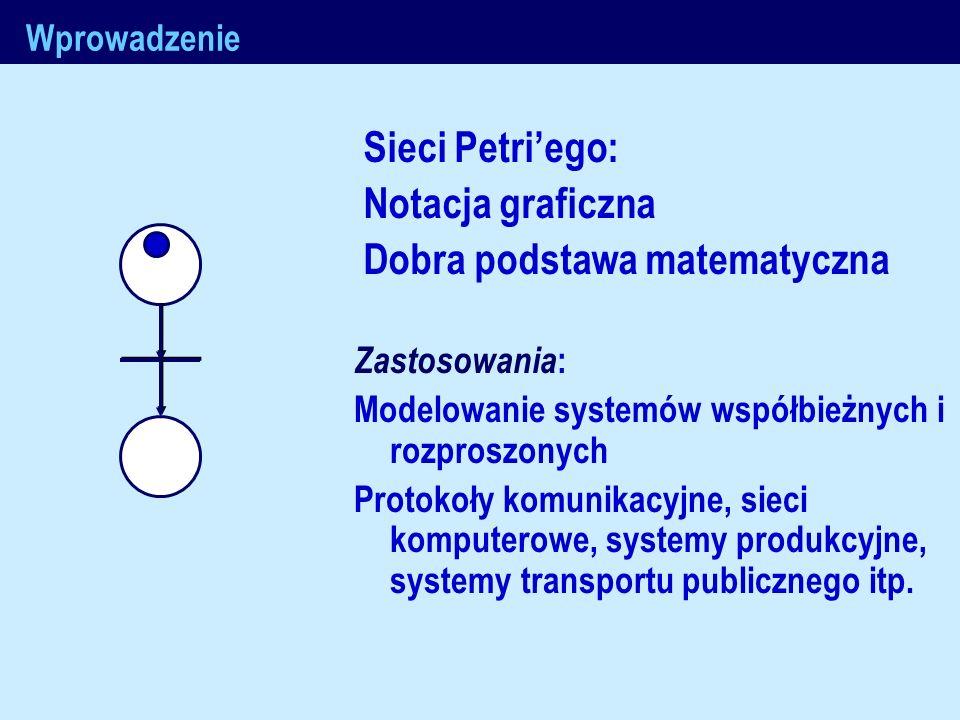 J.Nawrocki, Metody formalne Wprowadzenie Sieci Petriego: Notacja graficzna Dobra podstawa matematyczna Zastosowania : Modelowanie systemów współbieżny