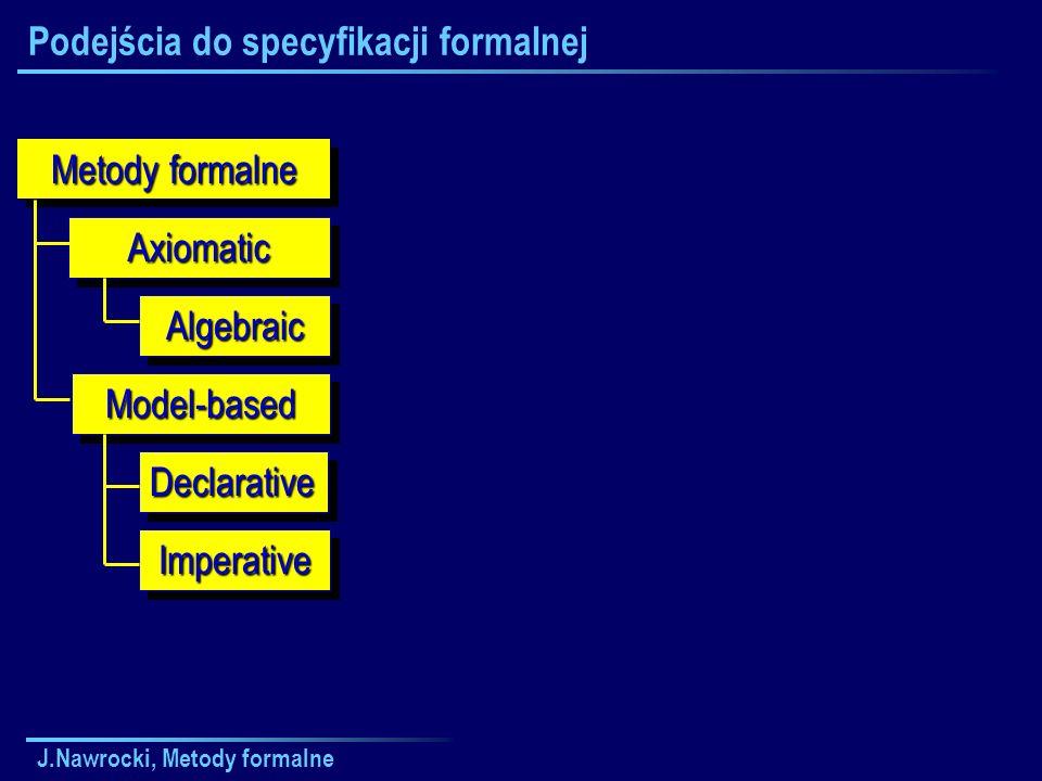 J.Nawrocki, Metody formalne Plan wykładu Formal Methods Model-basedModel-based AxiomaticAxiomatic ImperativeImperative DeclarativeDeclarative AlgebraicAlgebraic Specyfikacje aksjomatyczne Implementacje niestandardowe Specyfikacje bazujące na modelu Sieci Petriego