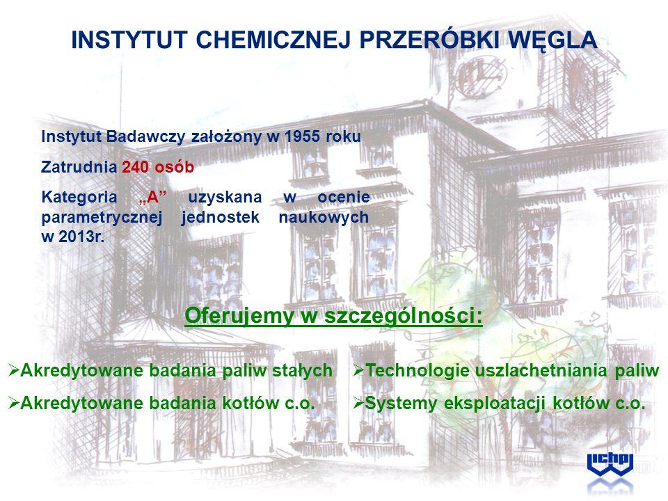 INSTYTUT CHEMICZNEJ PRZERÓBKI WĘGLA Akredytowane badania paliw stałych Akredytowane badania kotłów c.o. Instytut Badawczy założony w 1955 roku Zatrudn