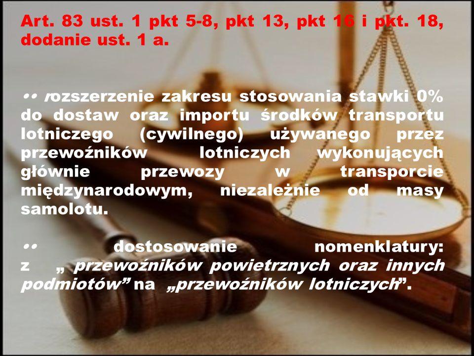 Art. 83 ust. 1 pkt 5-8, pkt 13, pkt 16 i pkt. 18, dodanie ust.