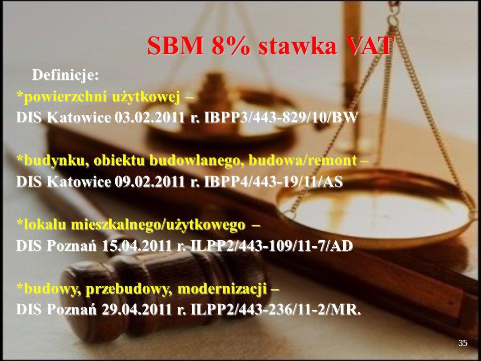35 SBM 8% stawka VAT Definicje: Definicje: *powierzchni użytkowej – DIS Katowice 03.02.2011 r.