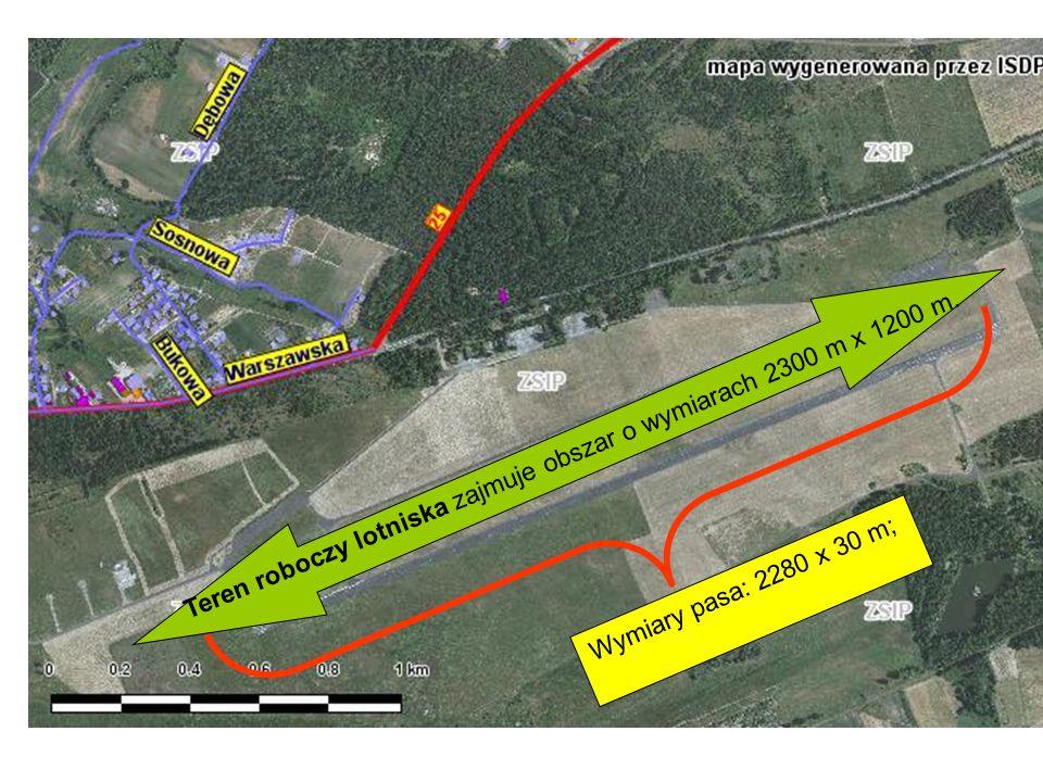 Wymiary pasa: 2280 x 30 m; Teren roboczy lotniska zajmuje obszar o wymiarach 2300 m x 1200 m.