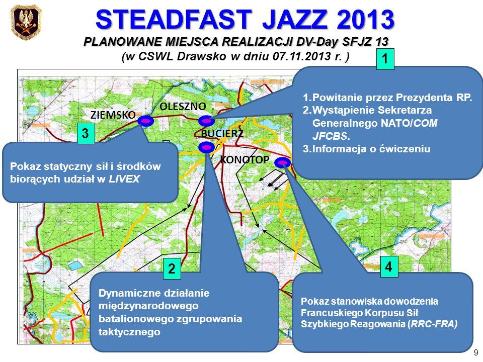 PLANOWANE MIEJSCA REALIZACJI DV-Day SFJZ 13 (w CSWL Drawsko w dniu 07.11.2013 r. ) OLESZNO ZIEMSKO 1.Powitanie przez Prezydenta RP. 2.Wystąpienie Sekr