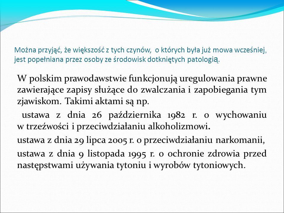 Można przyjąć, że większość z tych czynów, o których była już mowa wcześniej, jest popełniana przez osoby ze środowisk dotkniętych patologi ą. W polsk